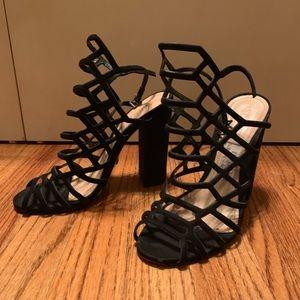 Black Schutz Caged Block Heel